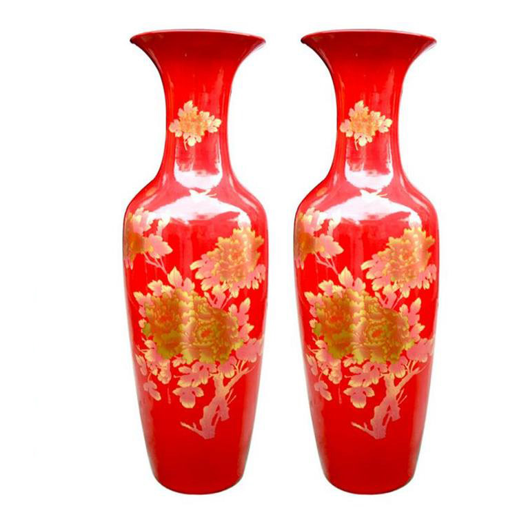 Shiny Golden Peony Painting Large Decorative Red Chinese Vases Buy