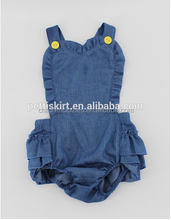 Fashion dasign 2016 baby clothes store interior design baby ruffle jeans romper