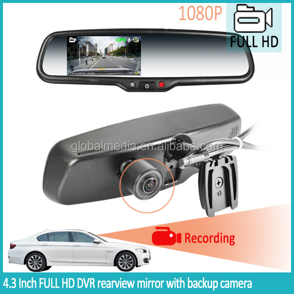 HD 1080P LCD screen with car dvr in rearview mirror with backup camera for lada 2107/subaru xv/prado 150