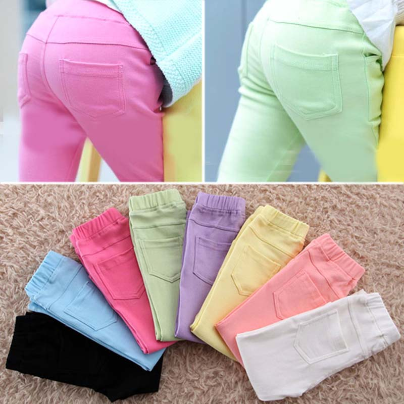 New autumn baby Clothing Hot Girls Jeans Candy Color Skinny Children Pants Baby Casual Long Pants