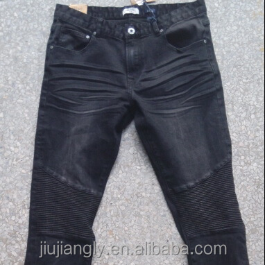 Men's fine washed stretch black biker jeans with knee wrinked design