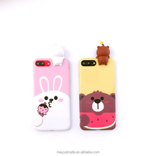 Lovely Kneading Toy Phone Case 3D Bear Bunny Cartoon Animal Shape Silicone Phone Case Back Cover for iPhone 6 6plus 7 7 Plus