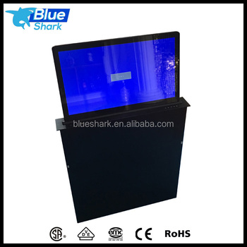 Desk lcd monitor lift system for training room with Remote Control
