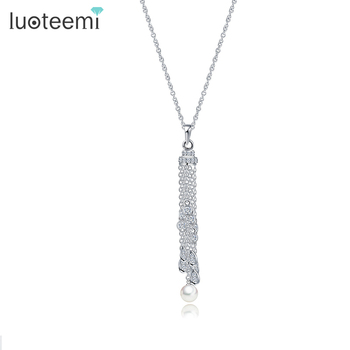 LUOTEEMI New Styles 2016 Women Collares Collier Accessories Fashion Elegant Imitation Pearls Long Tassel Necklace