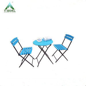 sell steel 3pcs poly wood bistro steel garden set RLF-5010-PF
