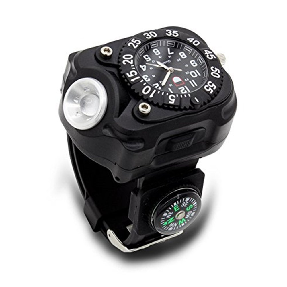 Security & Protection Outdoor Waterproof Compass Led Watch Lamp Night Running Hiking Camping Built-in Battery Recharge Wristwatch Flashlight Complete Range Of Articles