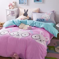 Pink And Light Green Bed Set Cartoon Rabbit Pattern Quilt Cover