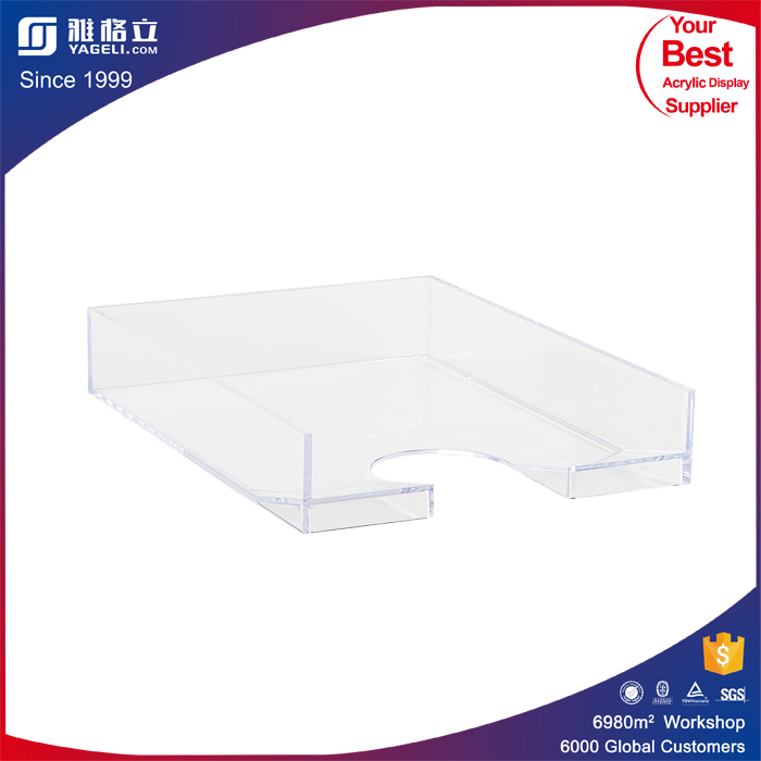 China Wholesale Market Plastic Serving Trays Acrylic Bottle Service Tray with Handle