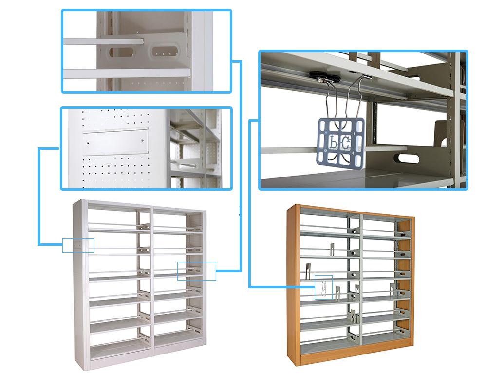 doble lado biblioteca muebles estantera de acero estante para libros de la escuela la
