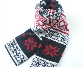 Snowflake Pattern Knit Scarf Machine Knit Scarf Double Knit Scarf
