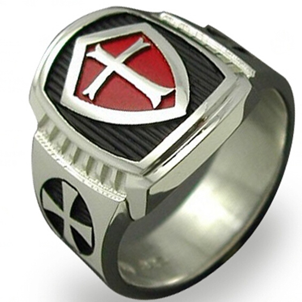 Size 7 15 Stainless Steel Red Armor Shield Knight Templar Crusade Cross Ring