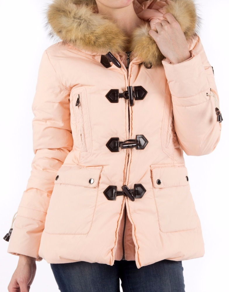 woman winter big raccoon fur collar coat real leather button ladies down jacket women