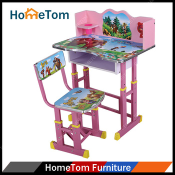 Beautiful Ergonomic Design Cartoon Height Adjustable Children Kids Writing Table  Chair Salon Desk