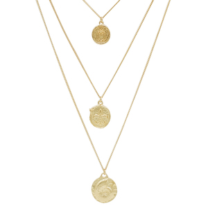 Wholesale Women Gold Plated Chain Multilayer Coin Round Pendant Necklace