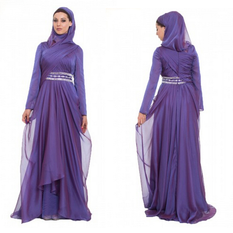 Buy Elegant Muslim Long Sleeve Evening Dresses Party Evening Elegant ...