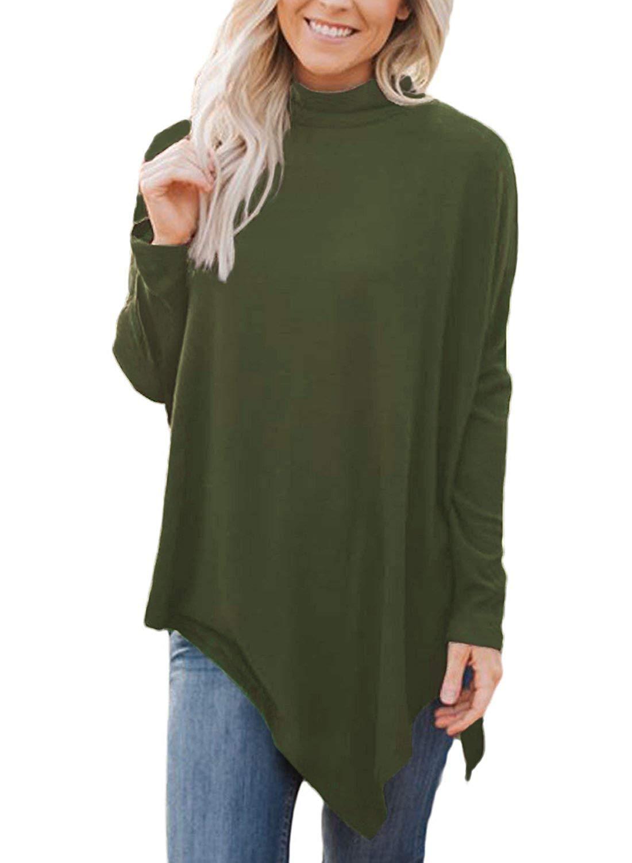 55b862883b3 Get Quotations · LOSRLY Women Turtleneck Long Sleeve Casual Handkerchief Hem  Flared Tunic Tops