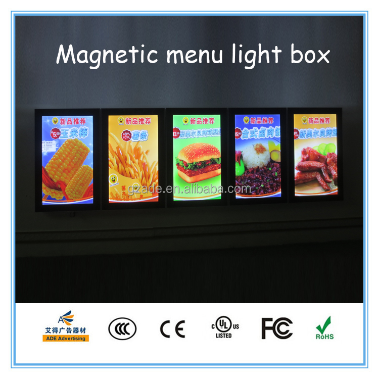 2017 super slim magnetic panel aluminum frame restaurant menu led advertising display magnetic light box