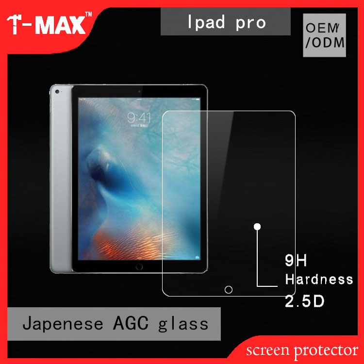2017 T-max mobile accessories 2.5D Best touch eco slim mobile glass screen film For iPad Pro tablet