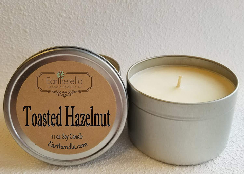 TOASTED HAZELNUT Natural Soy Wax 11 oz. Tin Candle, long 60+ hour burn time, hazelnut, butter, vanilla