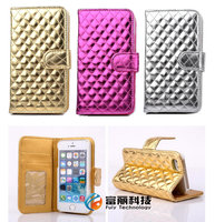 DHL Free Shipping Glossy Grid Deluxe Leather Wallet Cover Card Slot Holder Case for iphone 5 5s 4s iphone5