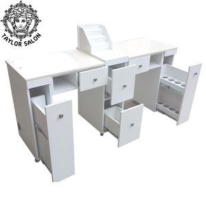Double manicure nail table nail bar table for salon furniture
