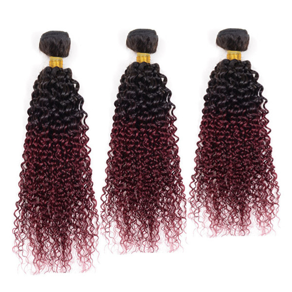 Ombre 1b 99j Hair Kinky Curly 3pcs lot Black And Burgundy Brazilian Hair Two Tone 99j Brazilian Hair Red Human Hair Extensions