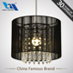 Indoor Light E27 chandelier crystal lamp with black wired lampshade