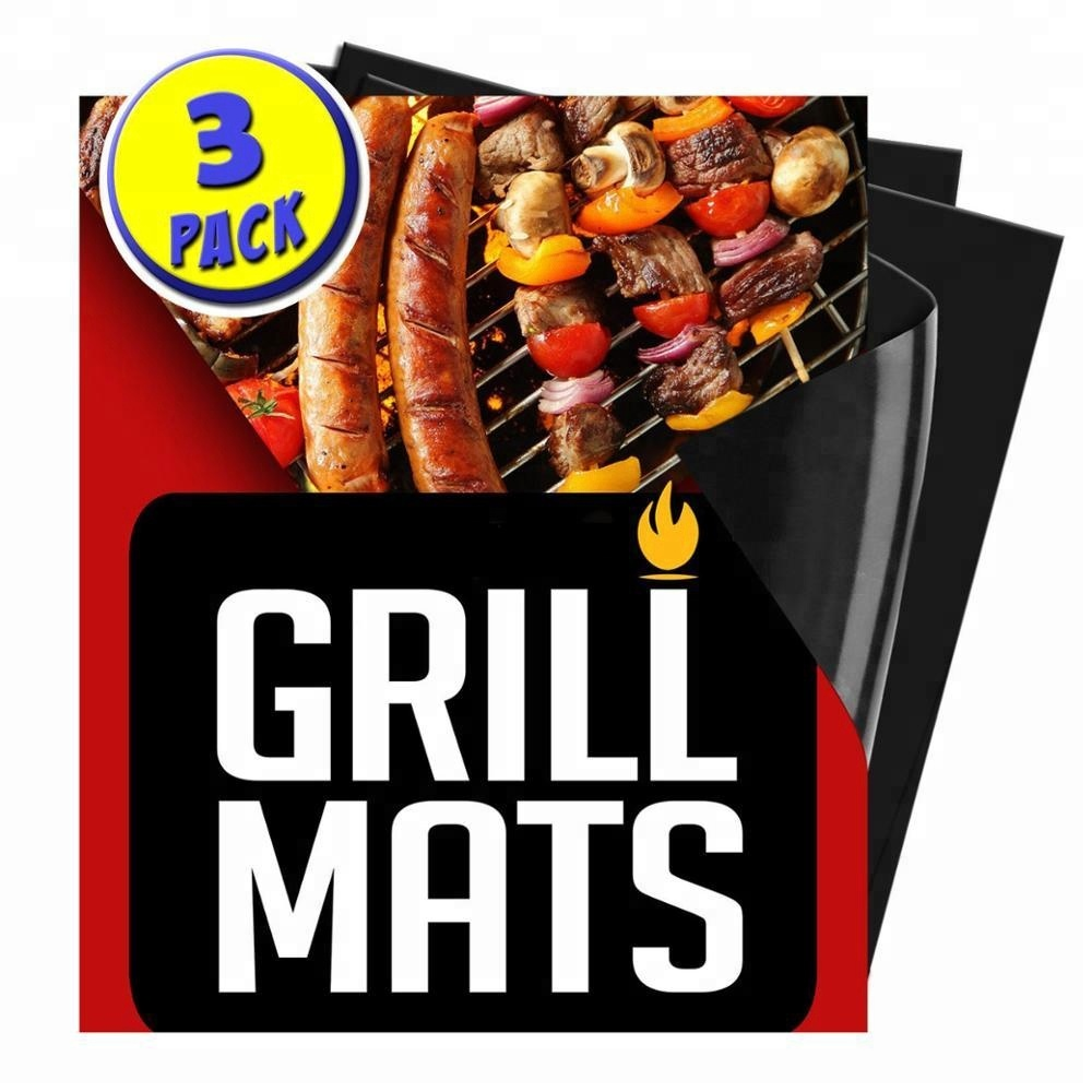Factory price LFGB approved 13*15.75 inches PTFE coated non stick re-usable Eco friendly Grill mat for grill
