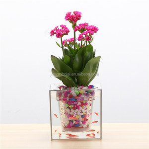 Free Shipping 4 pieces Creative Clear Tube Plant Pot / Flower Pot Decorative Self-Watering Planter Fish Tank