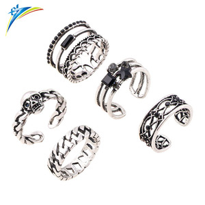 Anel Midi Finger Ring Set Silver Skull Knuckle Ring for Women Female Boho Jewelry