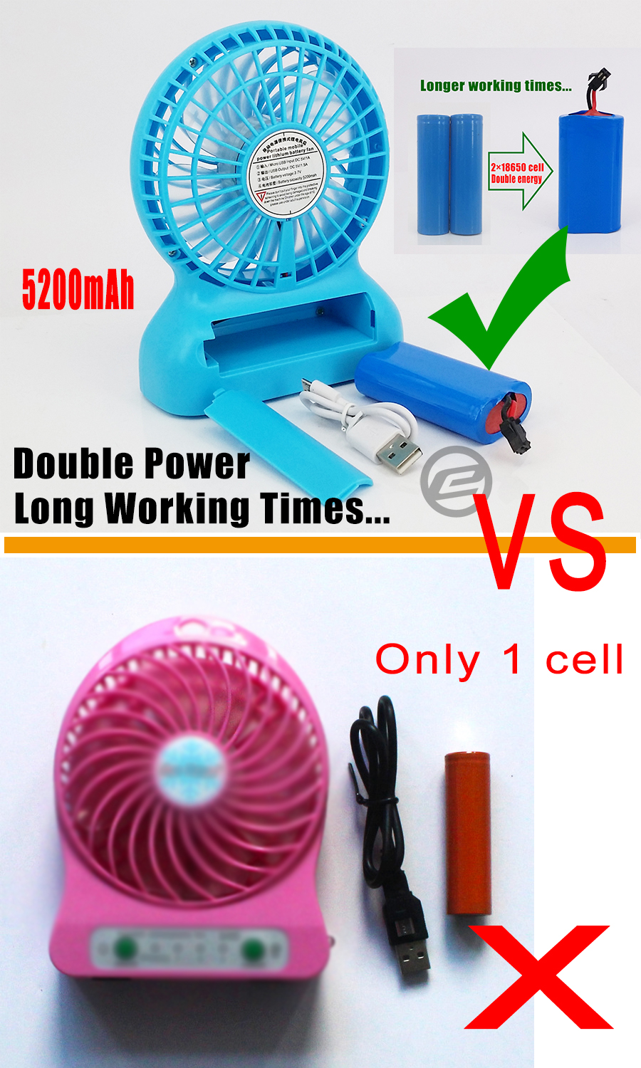 Portable Mini Fan : Rechargeable usb mini cooling fan portable with
