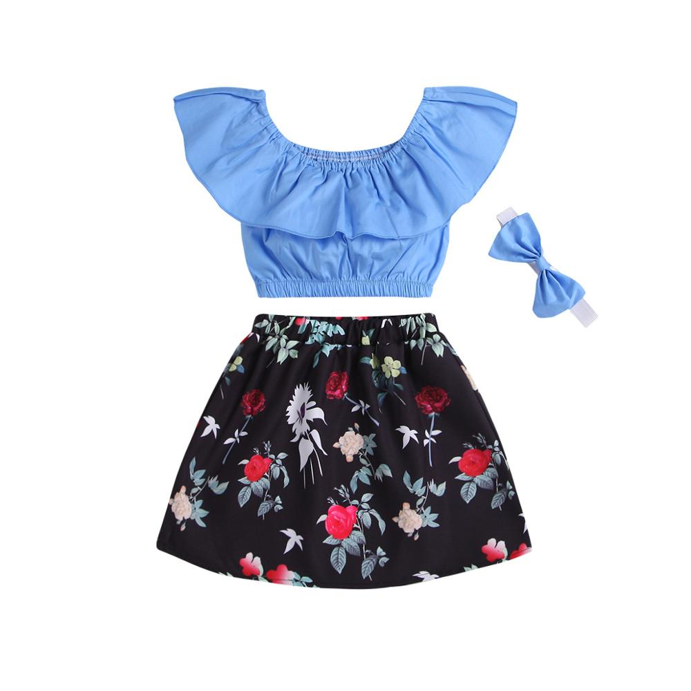 Summer Baby Girls Kids Off Shoulder T-shirt Tops floral Skirt headband 3Pcs Outfit Baby Girl cotton Clothes Set, As picture