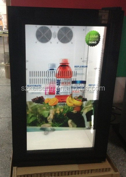 Hot-Sale 42L, 68L, 98L Transparent LCD Door Fridge Email szkiseng@163.com
