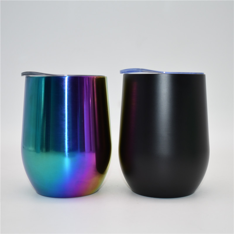 Food grade12oz stainless steel insulated tumbler Wine Tumbler with egg tumbler VU electroplate