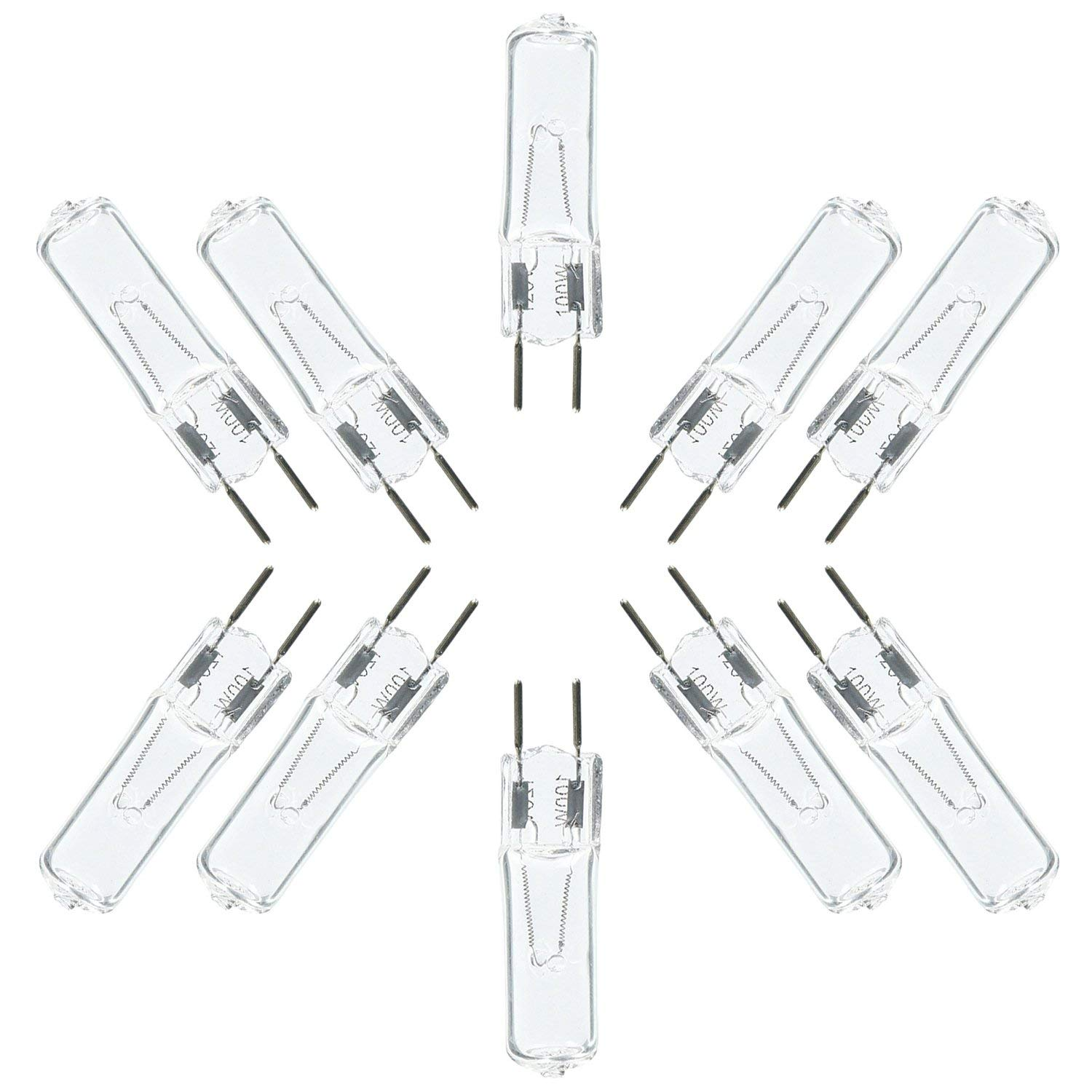 eTopLighting (10 Pack) G8 Halogen Bulb, 100 Watt Halogen G8 Bi-Pin Base, JCD Type Light Bulb 120 Volts, G8-120V-100W(10)
