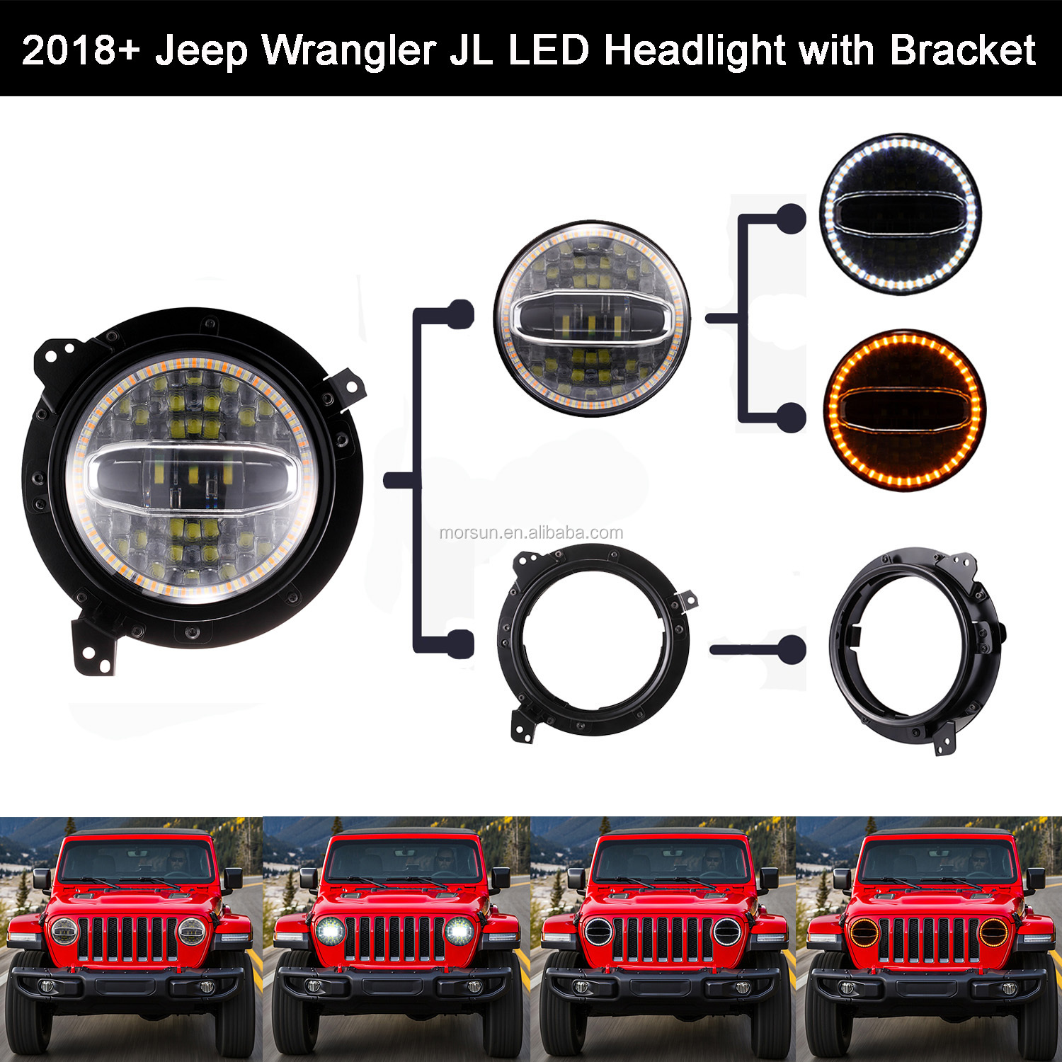 Auto Newest 7 inch round led Headlight 12v h4 Adapter Rings Bracket + New 7'' DRL led Headlights with halo for Wrangler JL 2018