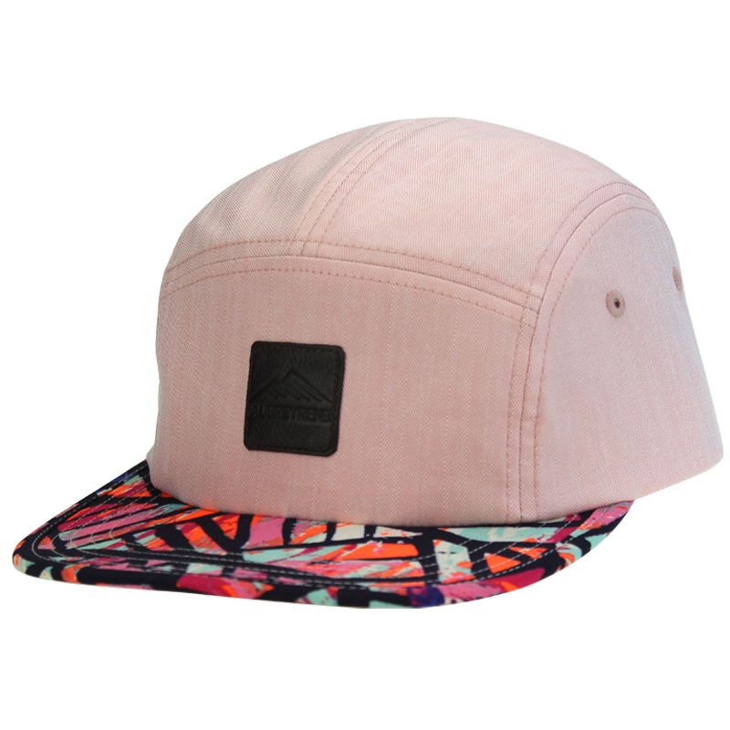 5 Panel Flower Printed Brim Snapback Cap Camp <strong>Hat</strong>