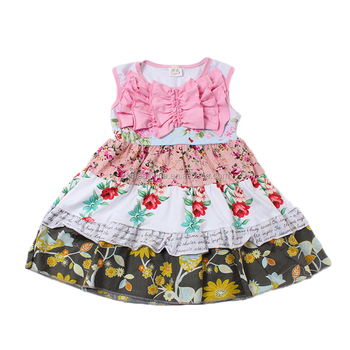 46c52e4e91dd Kids Sleeveless Frock Floral Print Ruffle Knit Cotton Dress ...
