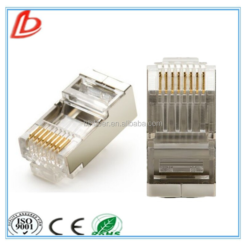 Cat5e copper shielding 8P8C network plug,Shielded Cat5e RJ45 Crimp Plug Connectors