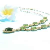 Silver Gold Plate Necklace with Jade Wholesale Jewelry Necklace LWN0009