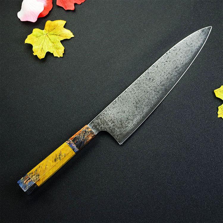Yangjiang Amber Japanese Damascus Steel vg10 Handmade oem Knife Japanese Professional Gyuto Chef Knife octangonal handle