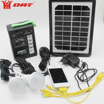 Portable mini 10W solar energy system kits with lamps and mobile function AT-111