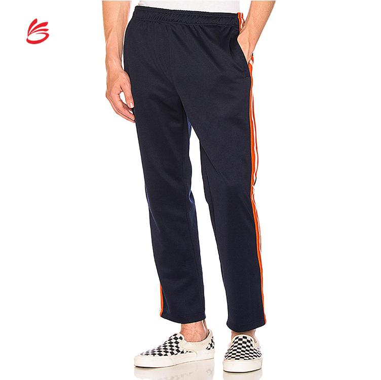 Men Sports Jogger Side Striped Trousers Vent Wide Leg High Waist