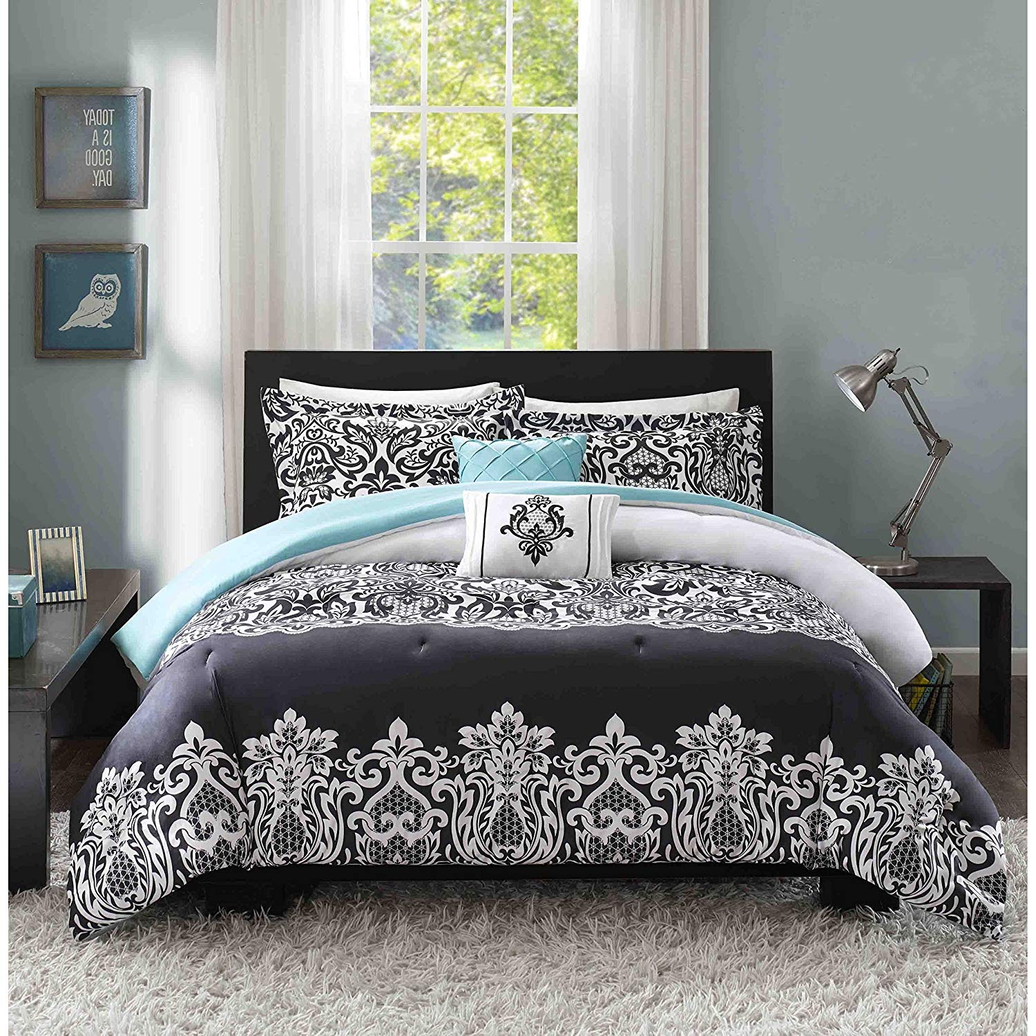 LO 4 Piece Girls Black White Damask Jeweled Comforter Set Twin Twin Xl, Dark Black Geometric Printed Floral Adult Bedding Master Bedroom Reversible Solid Color Casual Modern, Polyester
