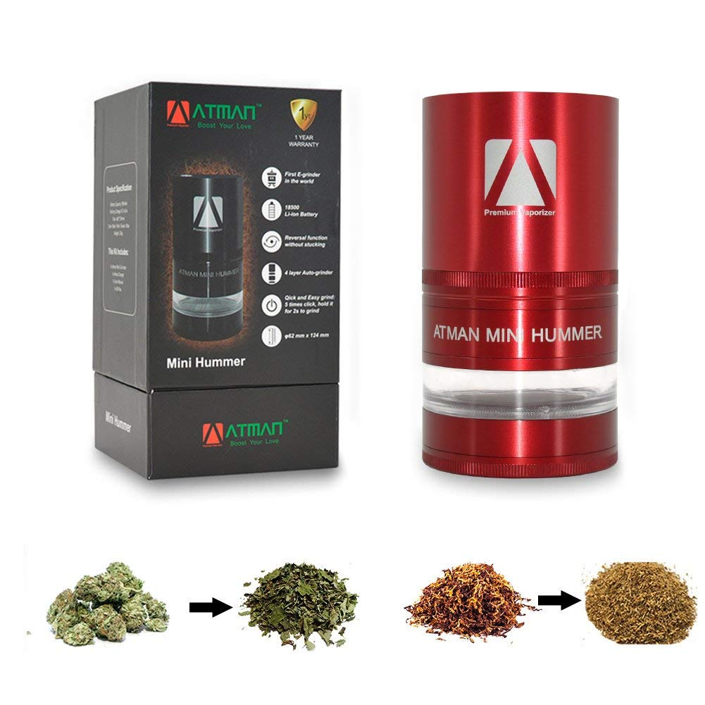 Grinder, ATMAN Portable Mini Hummer Electric Mill Designed E-grinder for Dry Herb, Tobacco, Weed, Spice - Easy to clean & Larger storge Space (RED)