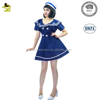 b8748acf893b Adult blue navy sailor costume Girls Pin-up Captain Fancy Dress Outfit  Costumes for Women