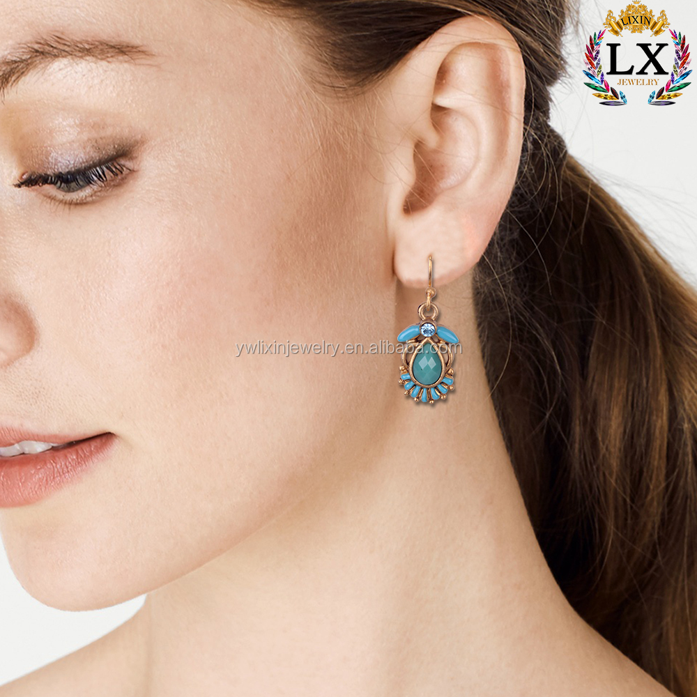 ELX-00354 New design lead and nickel blue crystal custom enamel acrylic earring wholesale women