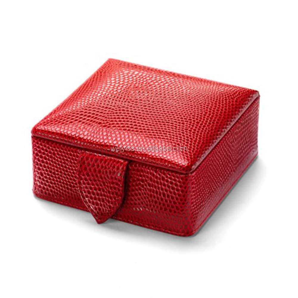 Top Grade Leather Small Travel Jewelry Case, Square PU Leather Jewelry Box for Earing