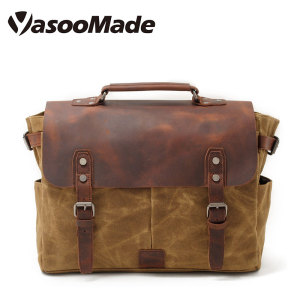 2018 Amazon Popular Men's vintage waterproof waxed canvas business leather laptop briefcase satchel shoulder messenger bag