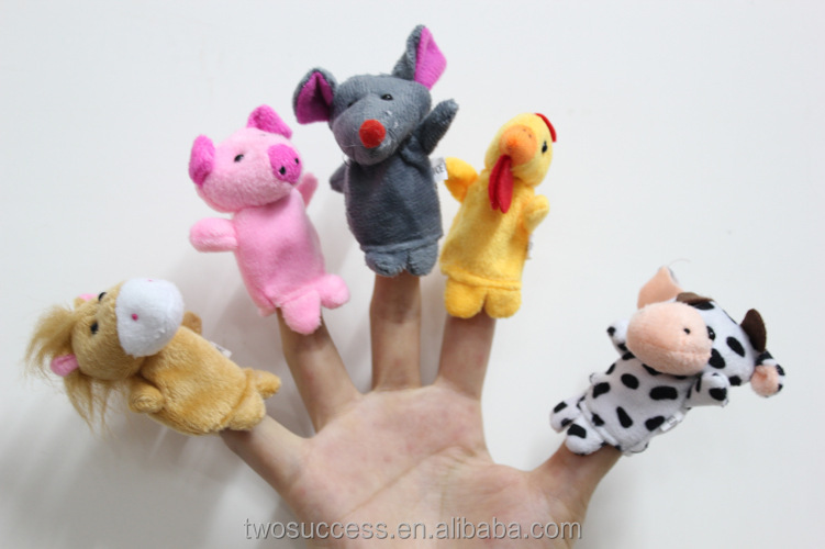 Hot selling Cute Cartoon Mini Animal Finger Puppet Plush Toys For Telling Story Finger Puppets Dolls